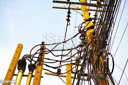 Marvelous Telephone Electricity Pole And Wires In Front Of Building Stock Wiring Cloud Hisonuggs Outletorg