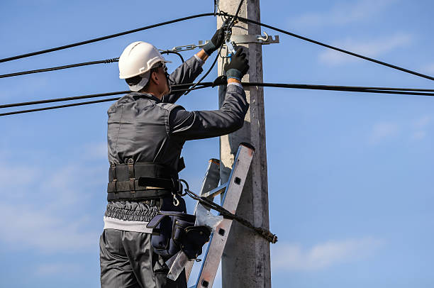Telephone Engineer Telephone Engineer  At Work fiber stock pictures, royalty-free photos & images