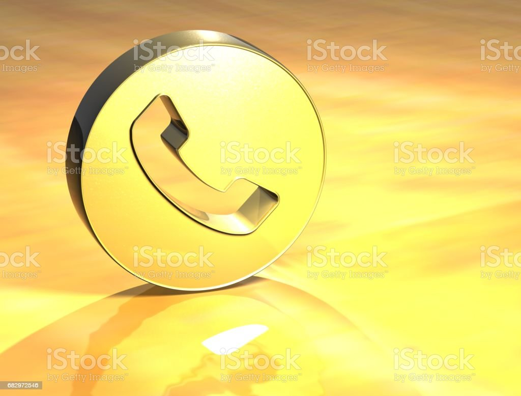 3D Telephone Handset Gold Sign royalty-free stock photo