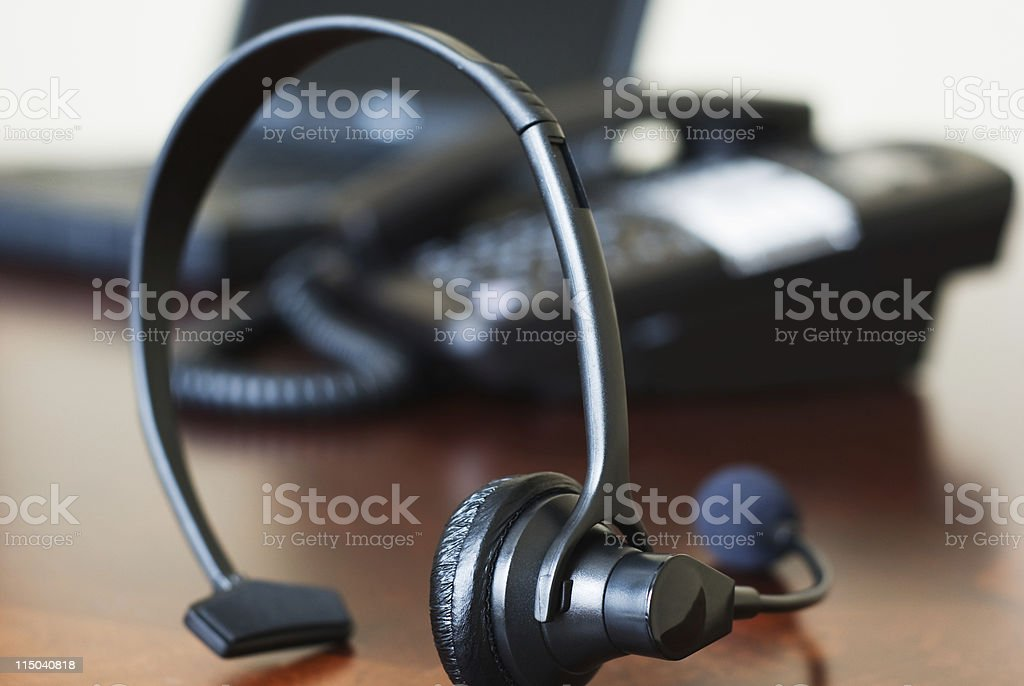 Telephone Headset Landline Phone And Laptop Computer On A Desk Stock Photo Download Image Now Istock