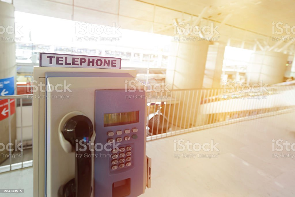 telephone in airport stock photo