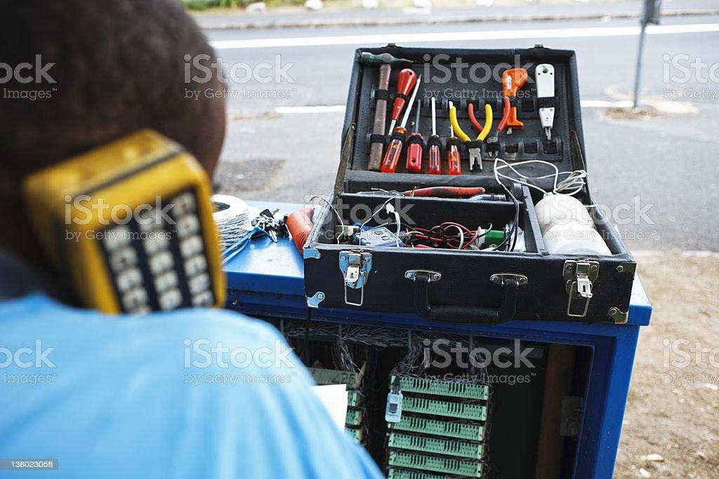 Telephone installation royalty-free stock photo