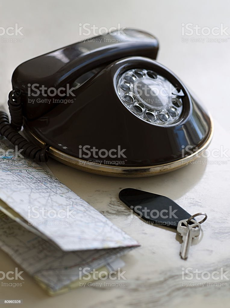 Telephone map and key royalty-free stock photo