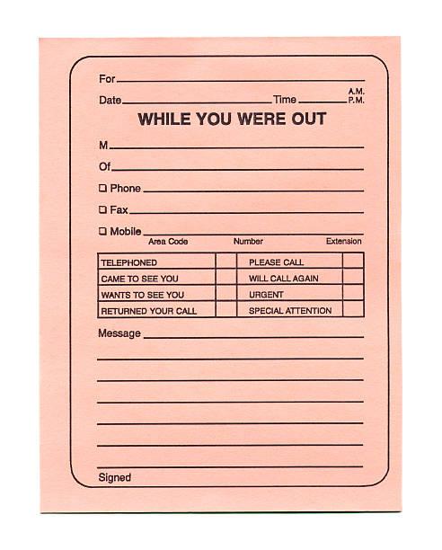 Telephone Message Pad (Peach) stock photo