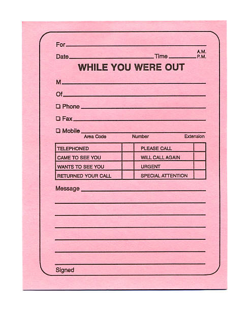 Telephone Message Pad (Pink) stock photo