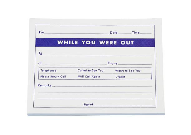 Telephone Message Pad stock photo