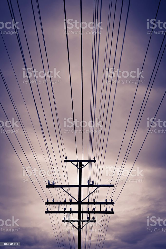 A telephone pole and lines across a purple clouded sky royalty-free stock photo