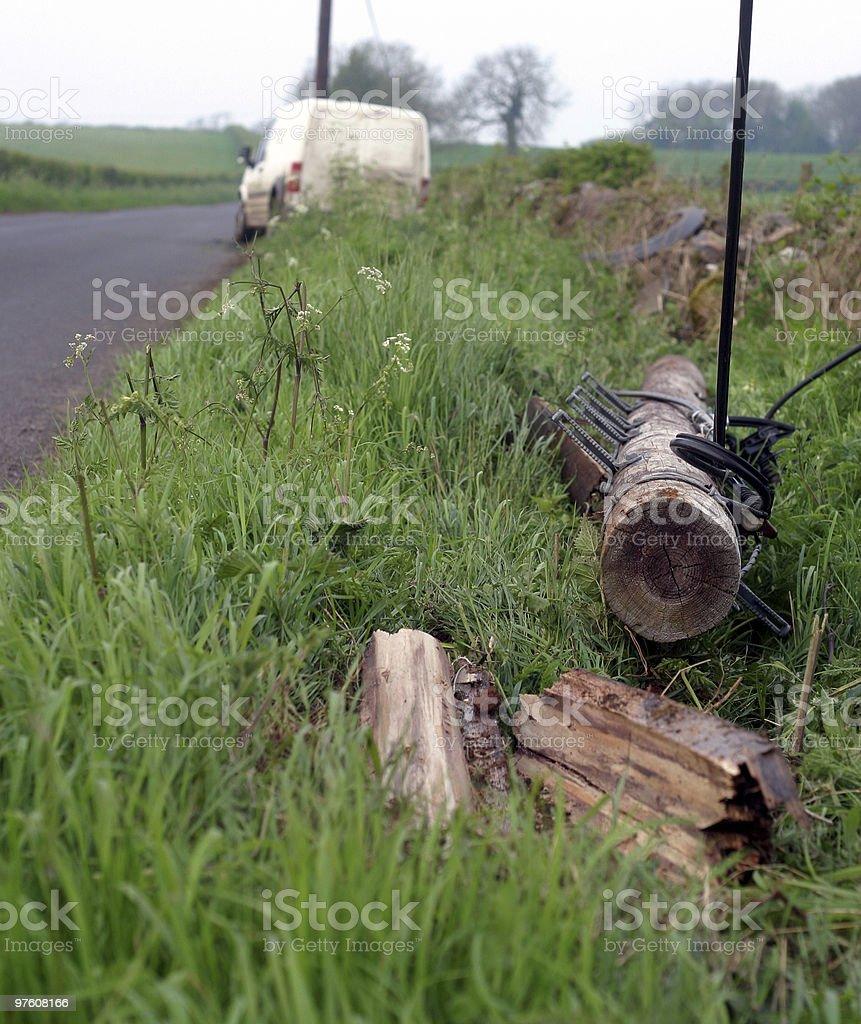Telephone pole crash royaltyfri bildbanksbilder