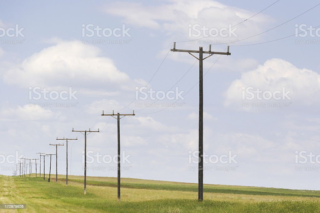 Telephone Pole Rural Midwest Prairie stock photo