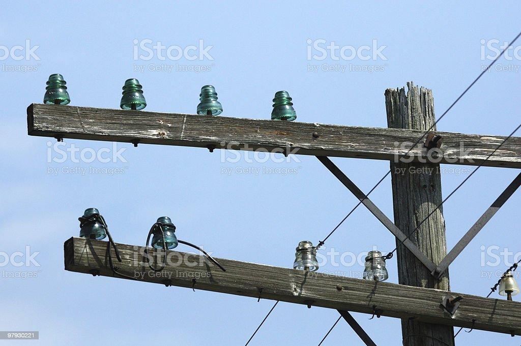 Telephone Pole with Insulators royalty-free stock photo
