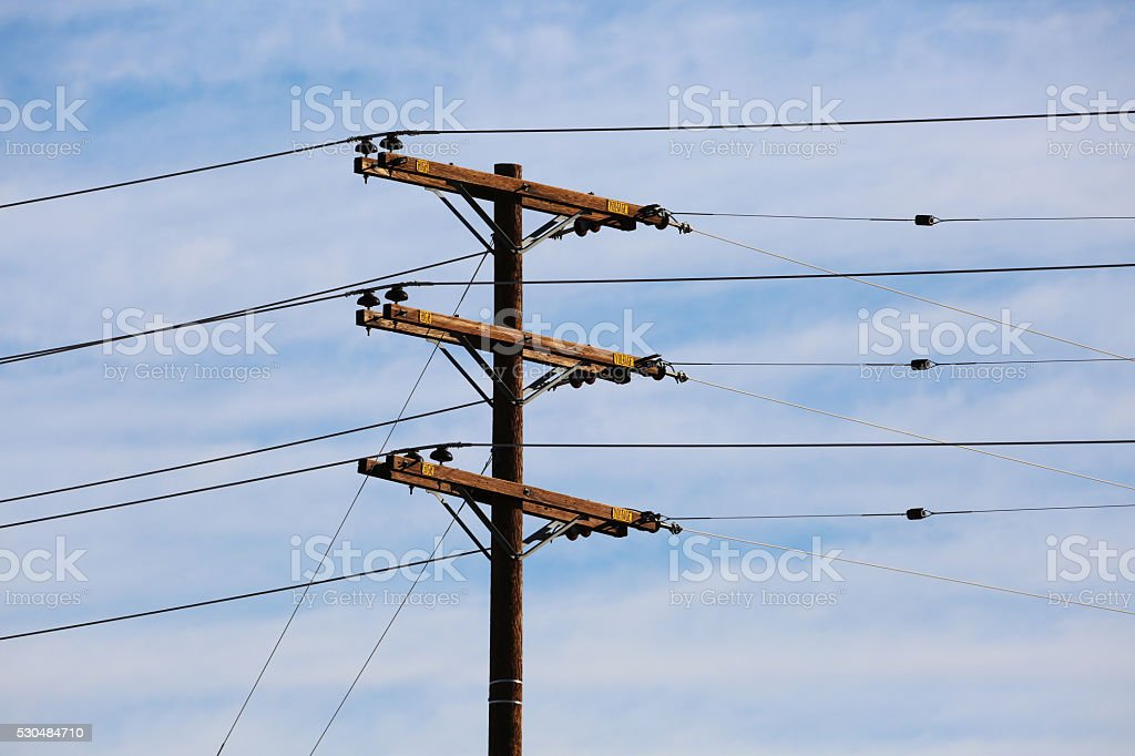 Telephone Poles and Power Lines stock photo