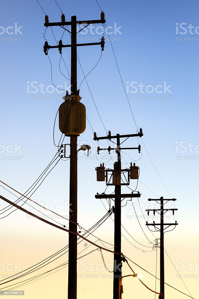 Telephone poles at dusk stock photo