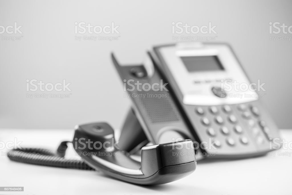 Telephone receiver off the hook stock photo