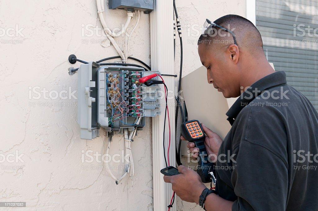 Telephone Repair Technician stock photo
