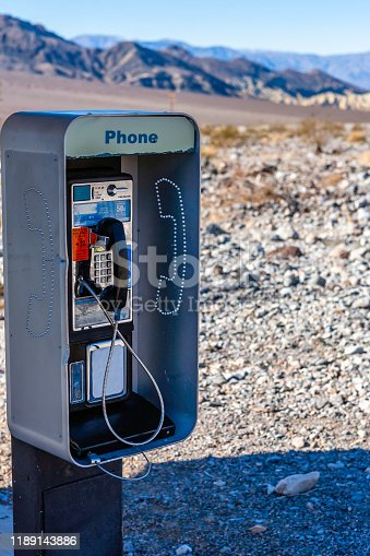 View of a pay phone on the road to Death Valley