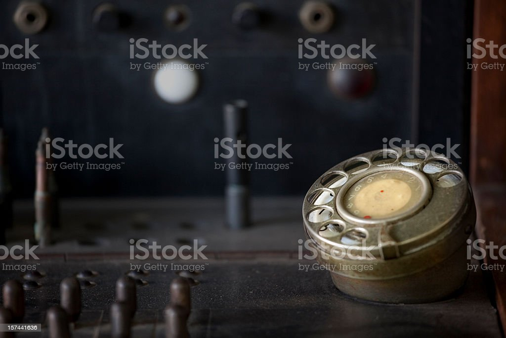 Telephone Switchboard, Old Fashioned, Dial and Jacks royalty-free stock photo