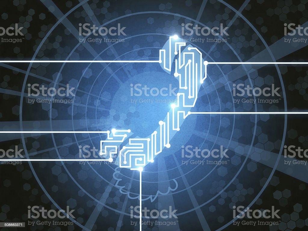 Telephone with Electronic Paths royalty-free stock photo
