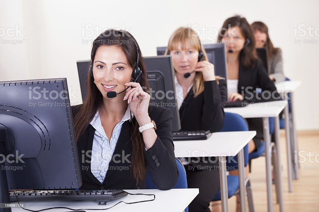 Telephonists in a call centre royalty-free stock photo