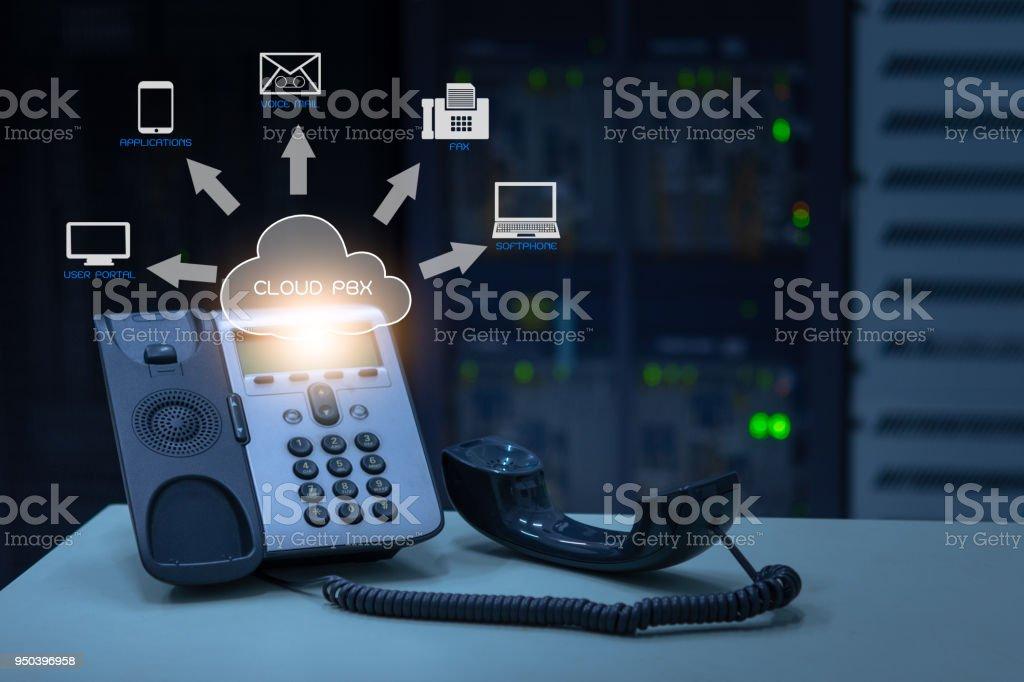 Ip Telephony Cloud Pbx Concept Telephone Device With Illustration