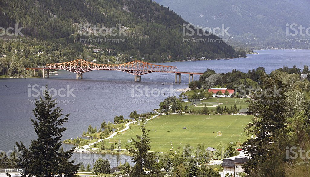 Telephoto Of Nelson Bridge And Lakeside From Gyro Park stock photo