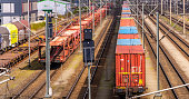 Telephoto recording of a freight wagon on the rails with coloured containers