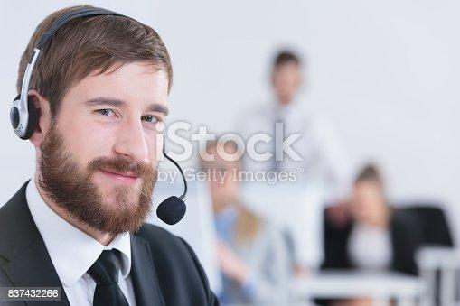 istock Telesales operator with headset 837432266