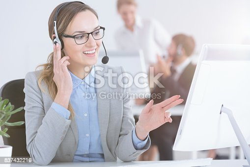 istock Telesales woman talking with customer 837432216