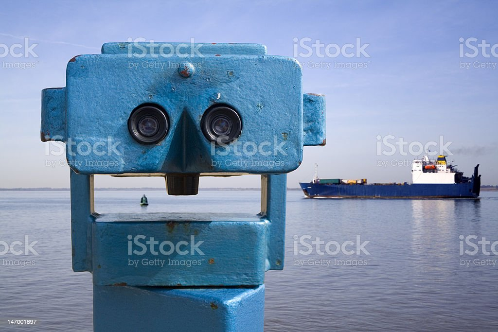 Telescope and Ferry royalty-free stock photo