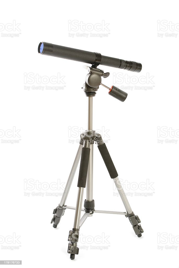 Telescope and tripod royalty-free stock photo