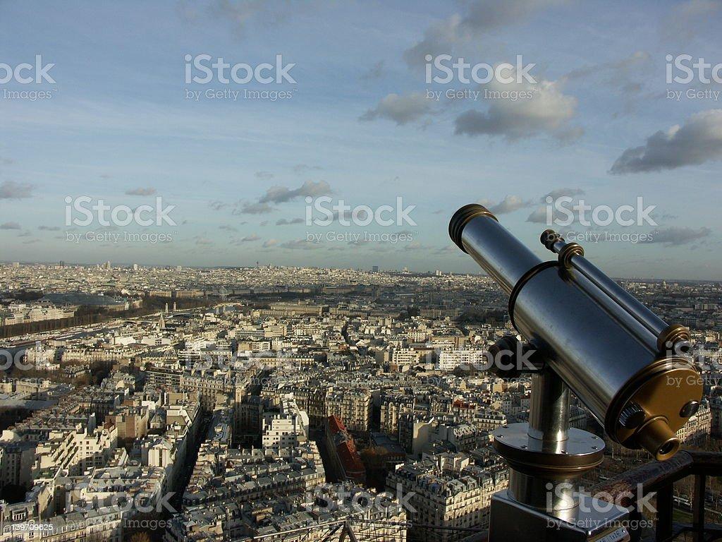 Telescope in Eiffel tower (Paris) royalty-free stock photo