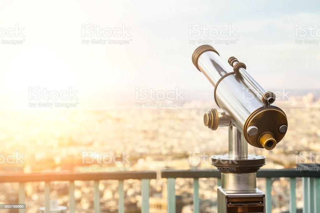 Telescope in Paris stock photo