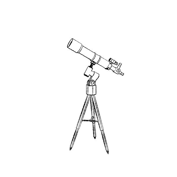 Telescope. Isolated on white background.Sketch illustration. – Foto