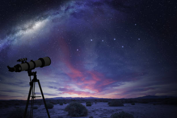 telescope looking at the Great Bear constellation telescope in the desert watching the Great Bear constellation and the milky way big dipper constellation stock pictures, royalty-free photos & images