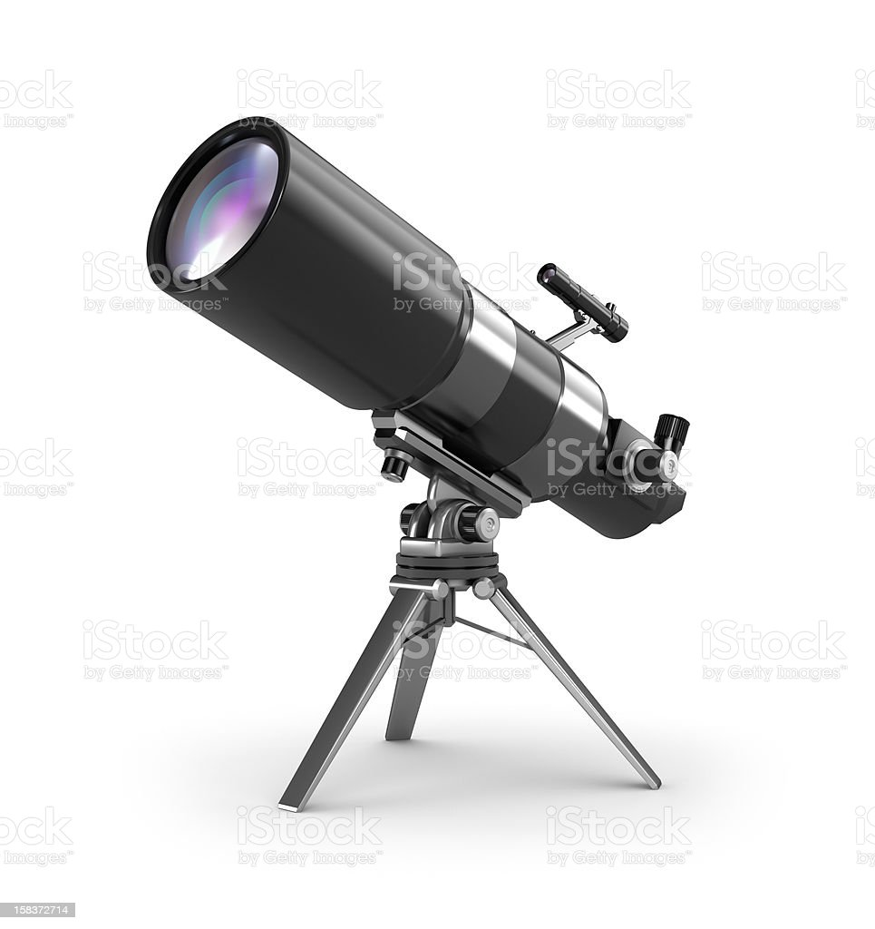 Telescope on support stock photo