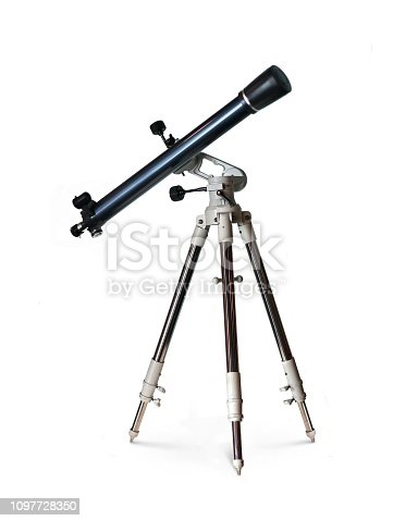 Telescope standing on tripod over white background