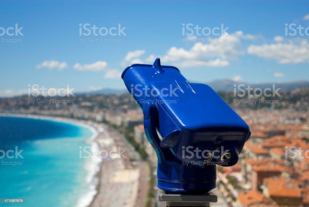 Telescope overlooking Nice Beach stock photo