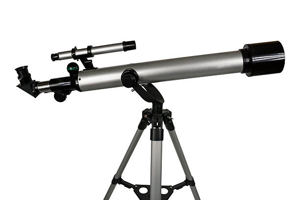 telescope refractor telescope,isolated on white. galileo galilei stock pictures, royalty-free photos & images