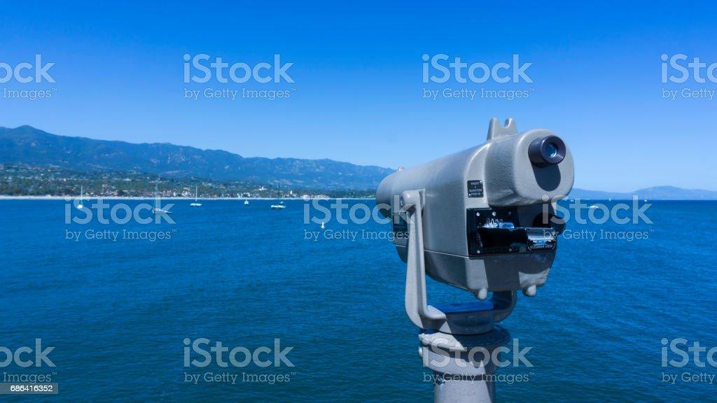 Telescope pointing to Santa Barbara coastline stock photo