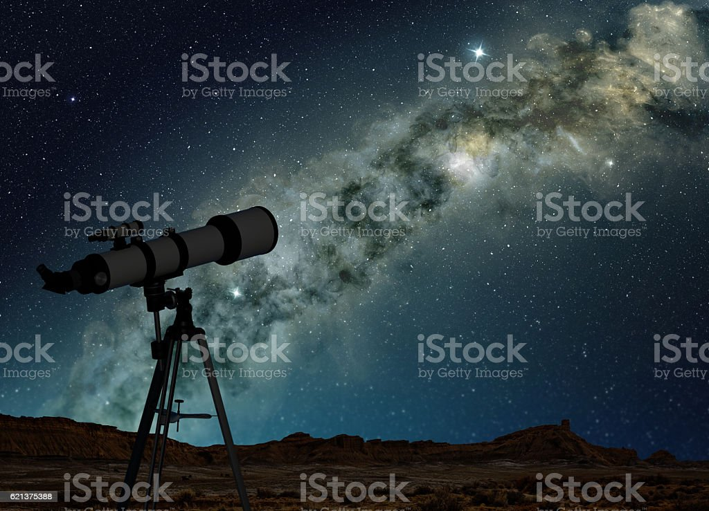 telescope pointing to the Milky Way stock photo