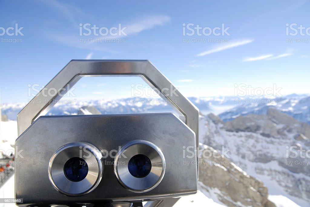 telescope view over swiss mountains royalty-free stock photo