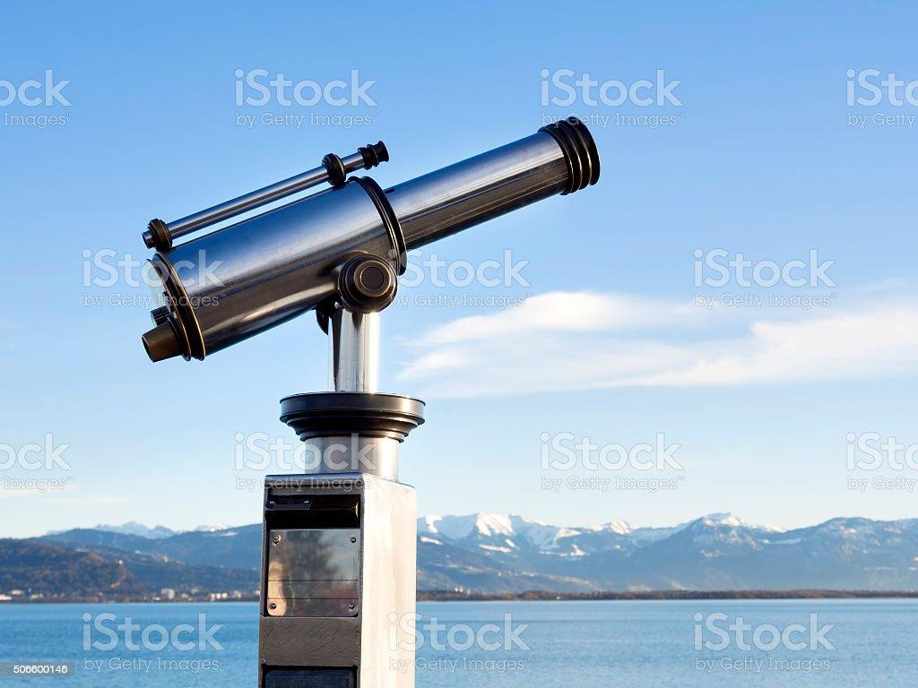 telescope with alps stock photo