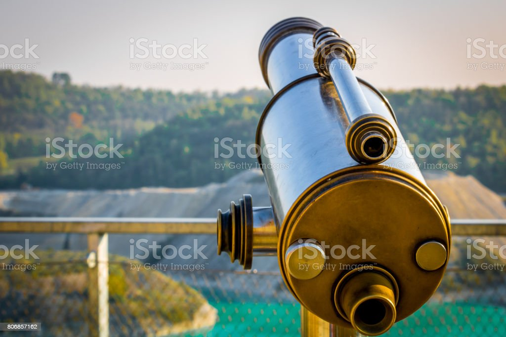 Telescope with the Marl quarry Maastricht ENCI in the background stock photo