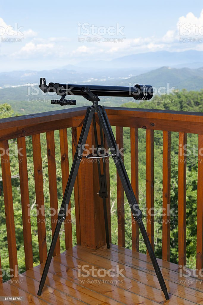 Telescope with Treetop View royalty-free stock photo