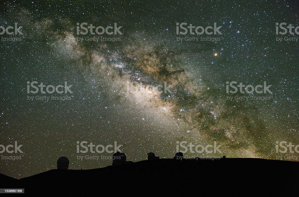 Telescopes observe the Milky Way. royalty-free stock photo
