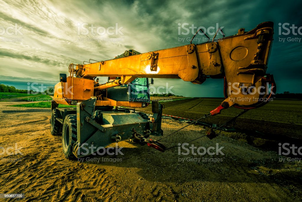 telescopic crane stock photo