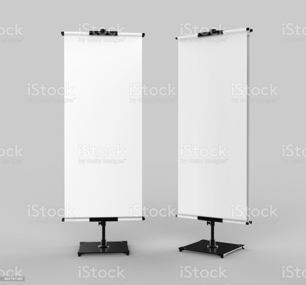 Telescopic Fabric Poster Stand Features Two Printed Fabric Banners. Blank white 3d render illustration. stock photo