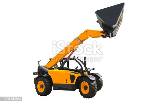 A telescopic handler, also called a telehandler isolated on a white background