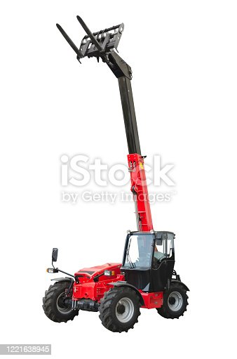 A telescopic handler isolated on a white background