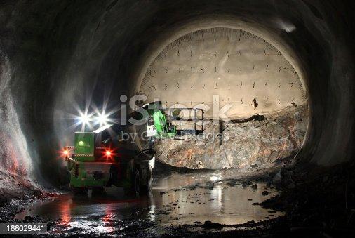 istock Telescopic handler on tunnel front 166029441
