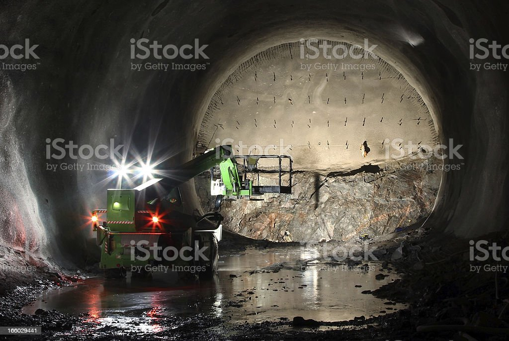 Telescopic handler on tunnel front stock photo